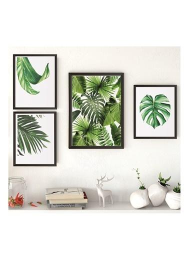 Lyn Home & Decor Yeşil Yapraklar Çerçeveli Poster 4 Lü Tablo 1 Adet 23,5X33,5 3 Adet 17,5X23,5 Siyah